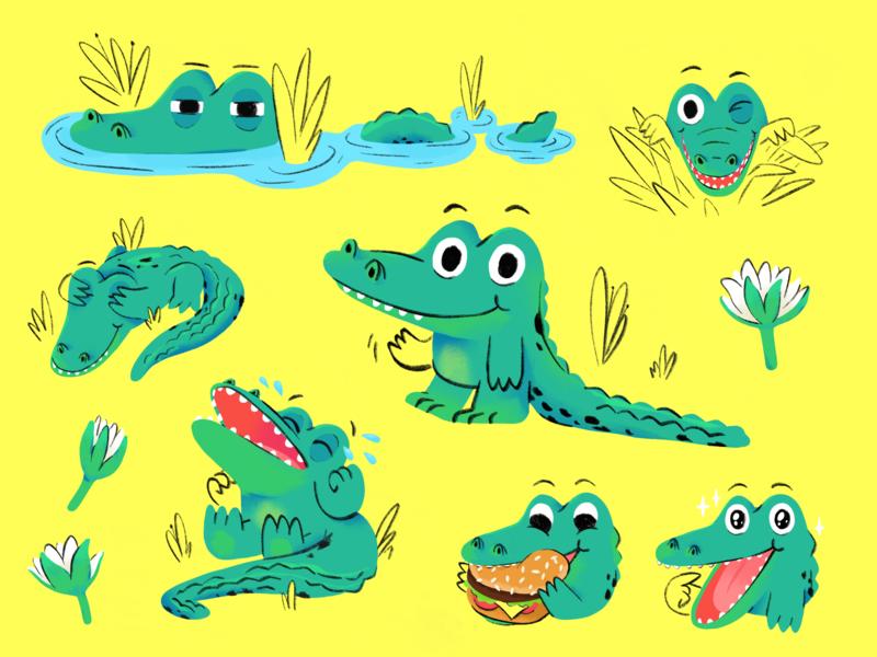 Little Crocodile cute child emotions illustration draw drawing crocodile cartoon mishaxgraphic mishax