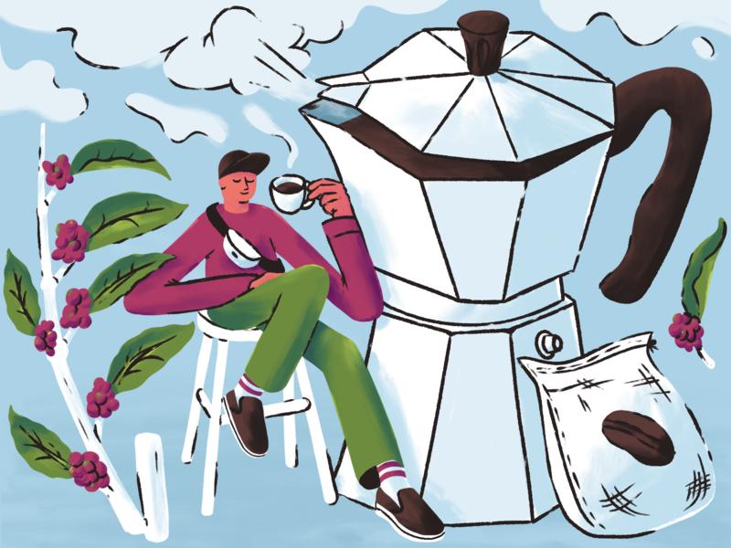 Coffee creative pleasure mishax mishaxgraphic character coffeemaker bean man vapor coffee