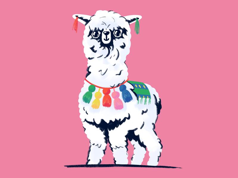 Alpaca cartoon drawn procreate character mishaxgraphic mishax illustration alpaca