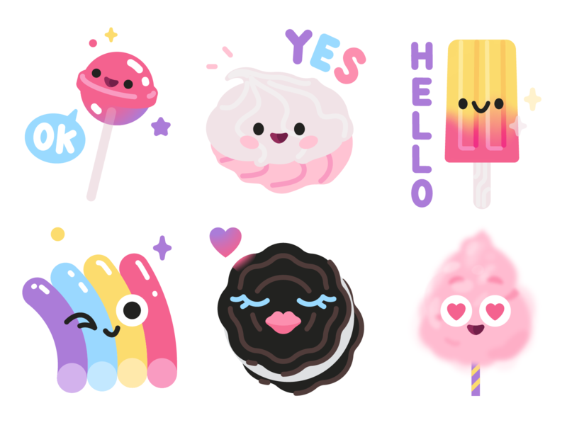 Sweet cotton candy cute stickers icecream cookie marshmallow lollypop candy sweet