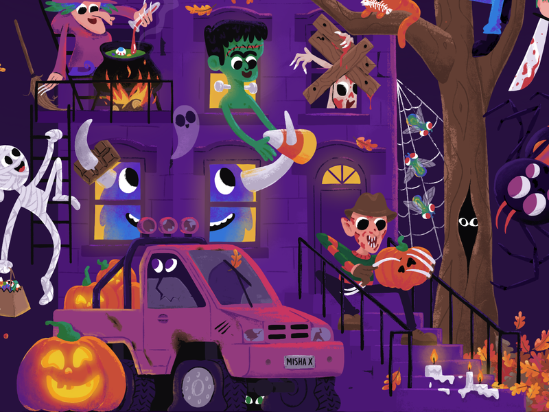 Halloween party house 👻🎃 vampire procreate draw caracter cartoon witch spooky mishax night house pumpkin party halloween