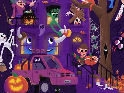 Halloween party house 👻🎃 kids children vampire procreate draw caracter cartoon witch spooky mishax night house pumpkin party halloween