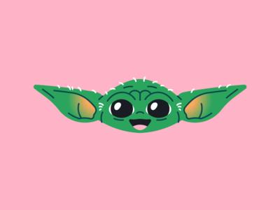 Baby Yoda happy child mishax illustration vector cartoon starwars lil cute smile mandalorian yoda baby