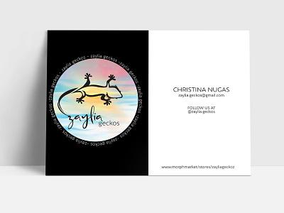 Branding: Postcard Zaylia Geckos indesign postcard design logo design illustration graphic design brand strategy branding brand identity brand development