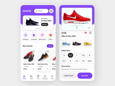 Shoes Online Purchasing App UI ui design