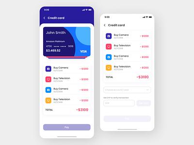 Credit Card App Design app art ui ux design