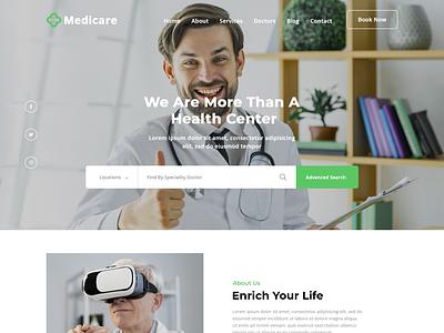 Medicare -Medical Service Website PSD Template clinic doctor medical website medical service website medical listing doctor theme medical service branding medical clinic medicare