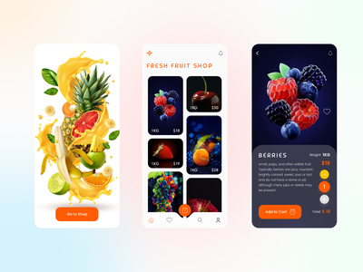 Fresh Fruit Shop App web ui design app
