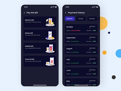 Payments History App flat app ux ui design