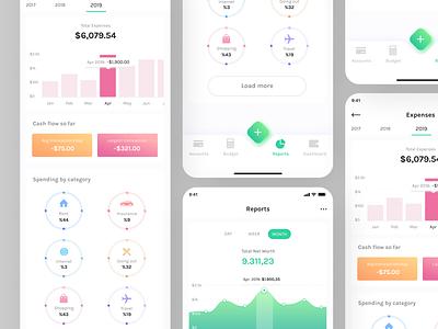 Daily Statistics App Screen flat minimal web ux app ui design