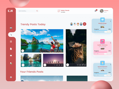 Social media Dashboard ux design ui design web ux app ui design