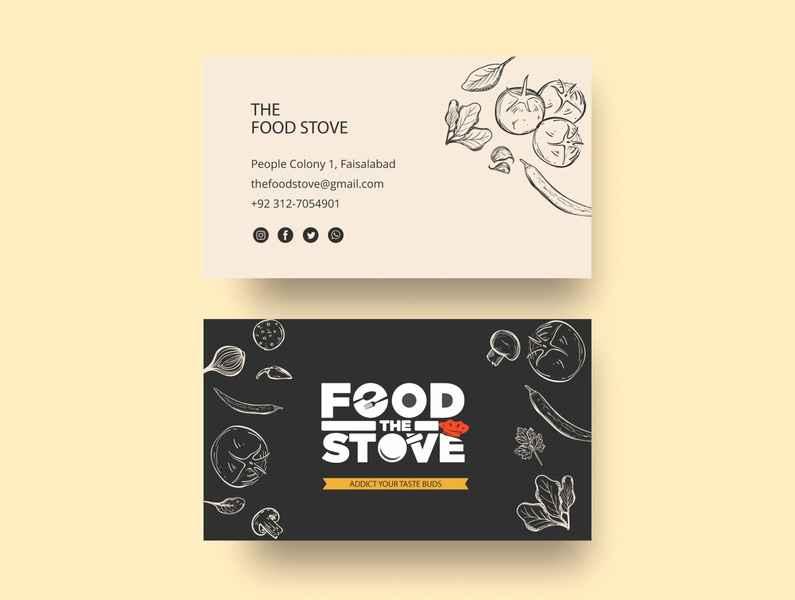 The Food Stove Business Card Design business cards visiting card visiting card design brand foodie restaurant branding business card corporate branding corporate design business brand identity business card design businesscard branding logo design buisness