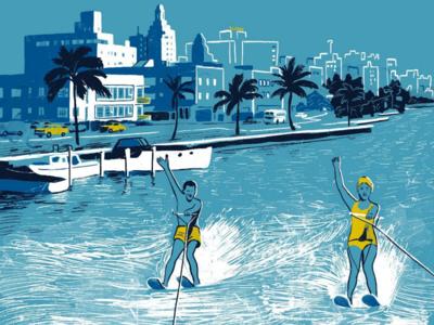 Miami, nostalgic travel poster illustration