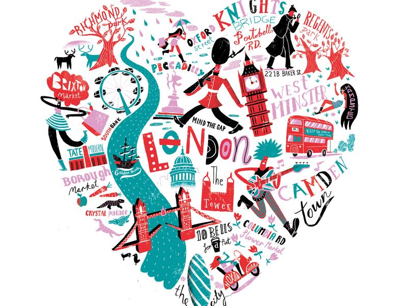 London Illustration pattern lettering licensing migy illustration love heart london underground london bridge london eye london love
