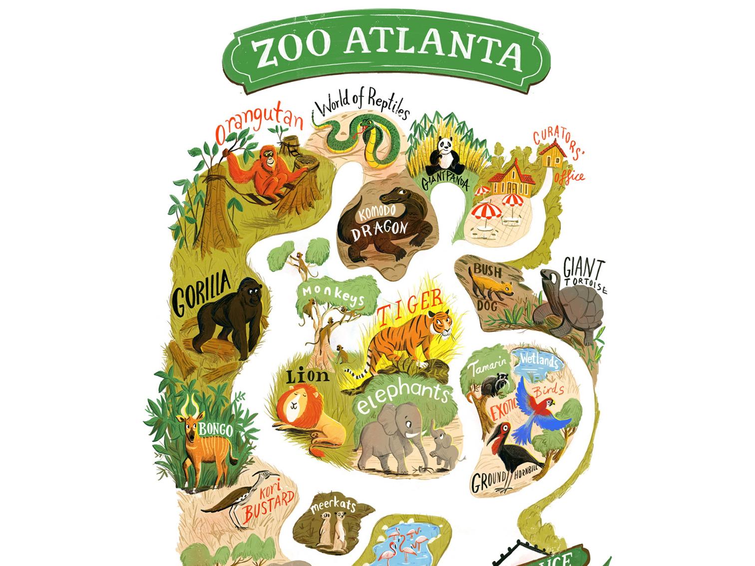 map of atlanta zoo Bridge To The Wild Atlanta Zoo Map By Migy On Dribbble map of atlanta zoo