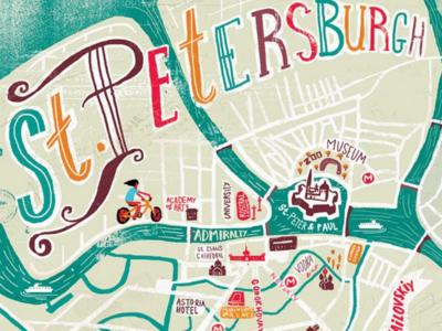 St Petersburg map illustration st petersburg map