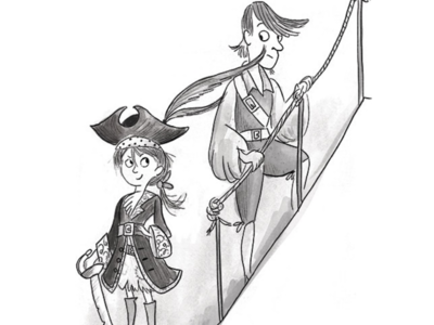 The cheek of it! illustration characters black and white