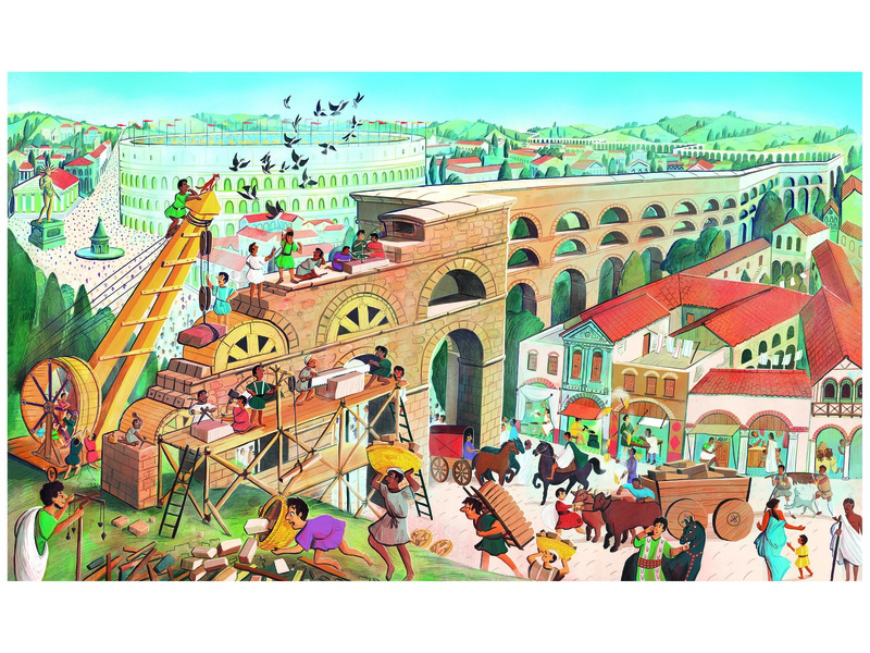 Constructing a Roman Aquaduct background art childrens book licensing kids book migy picture book illustration rome roman history ancient aquaduct