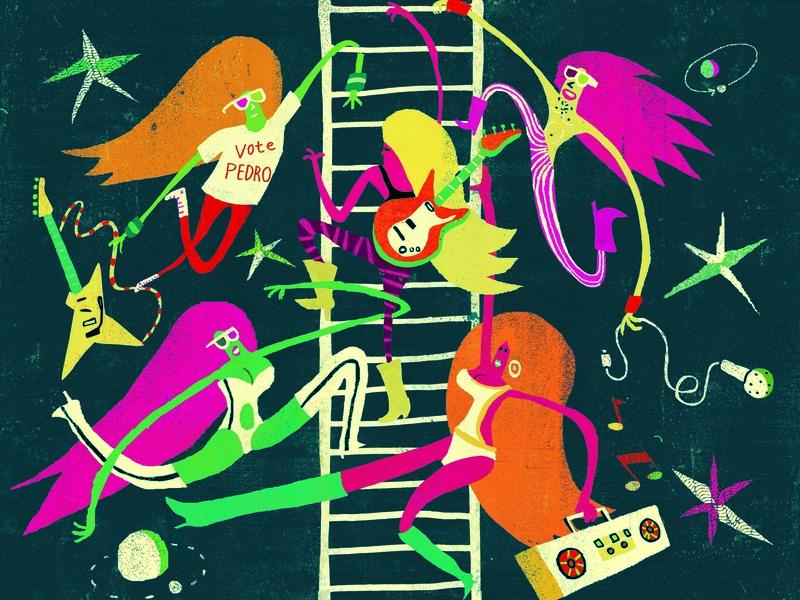 Space Ladder pattern lettering licensing migy illustration