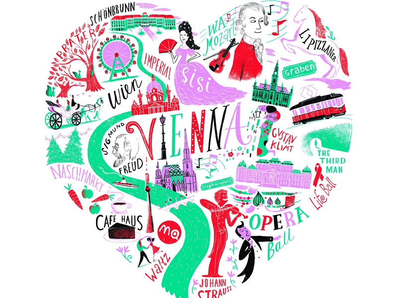 Love Vienna hand lettering map pattern licensing migy illustration