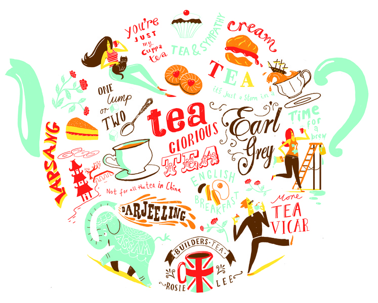 Nice cup of tea licensing lettering migy illustration