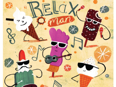 Chill out! cool sun ice cream illustration