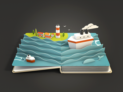 Sea sea ship book pop-up ios 3d render paper icon