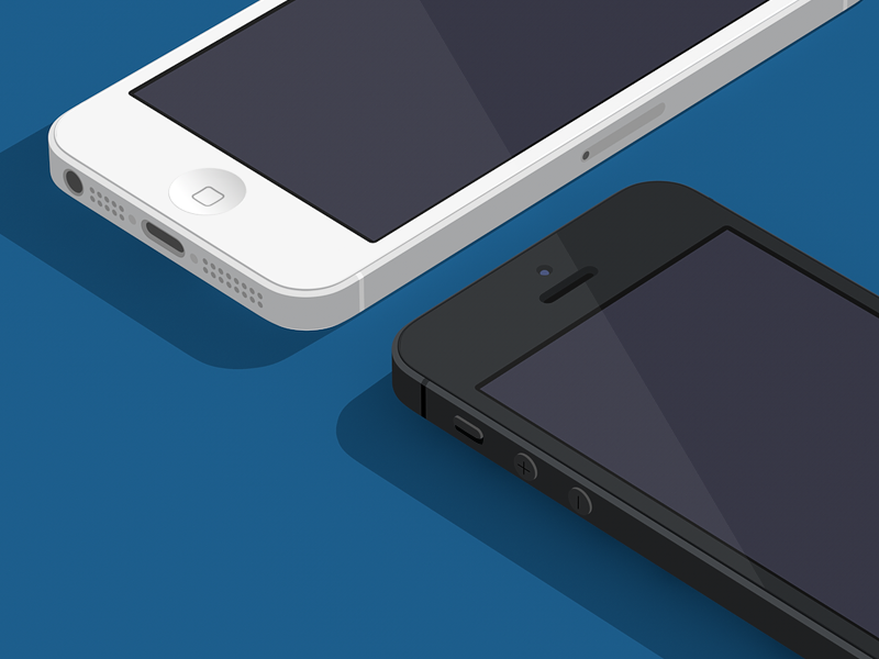 Flat looking 3d handy device isometric iso flat 3d render iphone