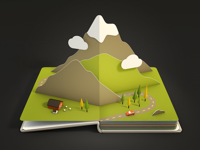 Mountains icon 3d ios render paper book pop-up mountain sheep