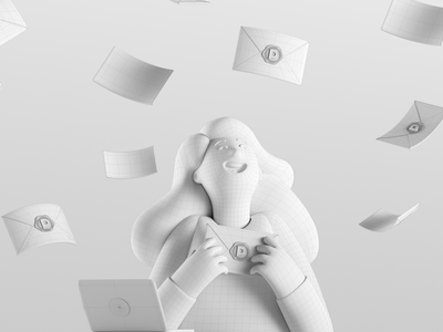 Happy mail day woman mascot mail animation girl pitch octane c4d hero character render illustration 3d