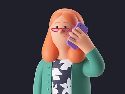 Aoife pitch brand persona character design c4d 3d art woman octane hero render 3d mascot character illustration
