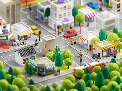 3d city iso street store shop map isometric 3d city town illustration icon character