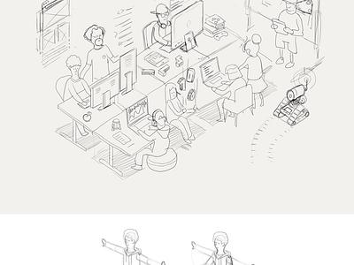 Coder Dojo education illustration robot isometric hero character render school code 3d kids