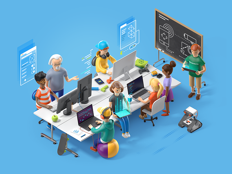 Coder Dojo education illustration robot isometric hero character render school code 3d kids