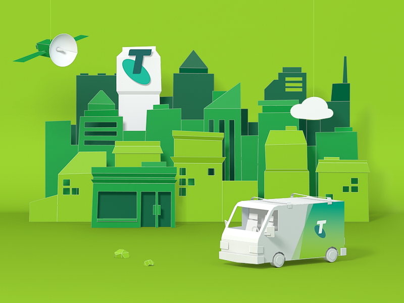 Paper City skyline store van render 3d illustration paper city