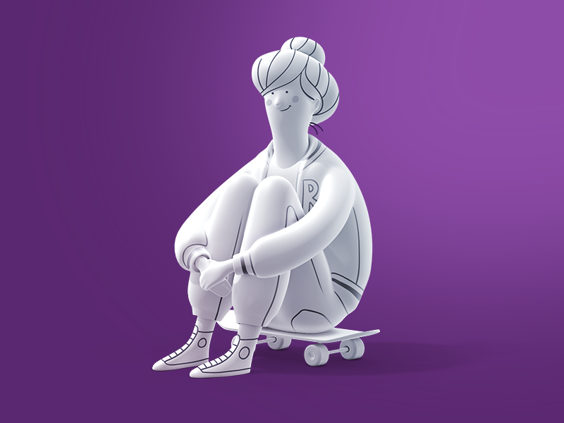 They see me rollin' WIP school student hero illustration render woman girl fitness sport skateboard 3d character