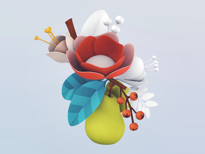 Flowers render flowers 3d illustration coloring