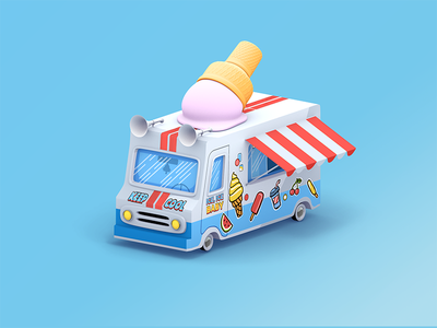 Ice cream truck c4d shop isometric render 3d van car ice summer