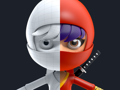Ninja c4d render hero 3d illustration mascot character game super hero ninja