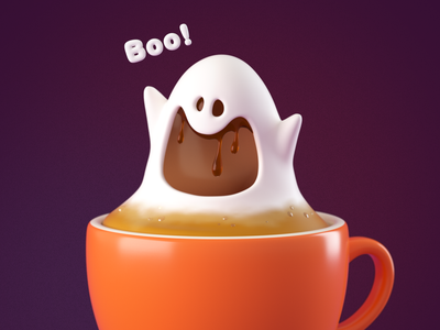 Spookyccino wallpaper illustration c4d hero character octanerender 3d octane coffee halloween