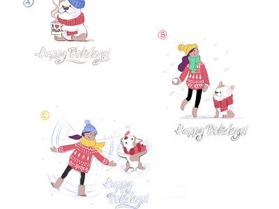 Happy Holidays! octane dog christmas render character illustration 3d
