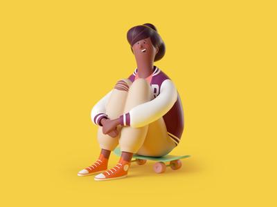 They seen me rollin' octane sport student skater hero character render illustration 3d
