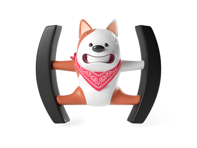 Otto Stickers pitch octane sticker stickers icon c4d dog character render illustration 3d
