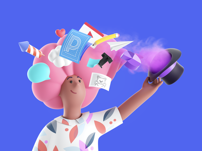 It all starts with an idea mascot branding pitch idea magic illustration website women cinema4d octanerender octane design c4d hero character render 3d
