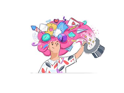 It all starts with an idea mascot branding pitch idea magic illustration website women cinema4d octanerender octane design c4d hero character render 3d