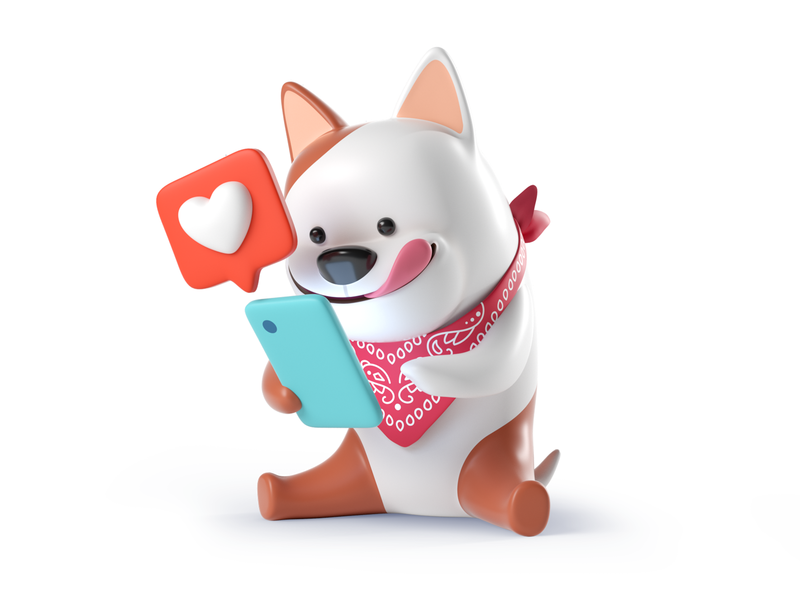 Otto iphone pitch dog cinema4d design octane c4d hero character render illustration 3d