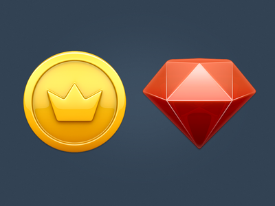 coin&ruby icons coin ruby icon 3d game gold