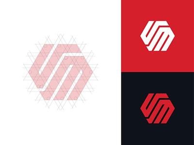 VM Logo design vm geometric monogram logo mark polygon vector icon minimal cars designs monogram logo design logotype logo branding grid logo grid car brand design