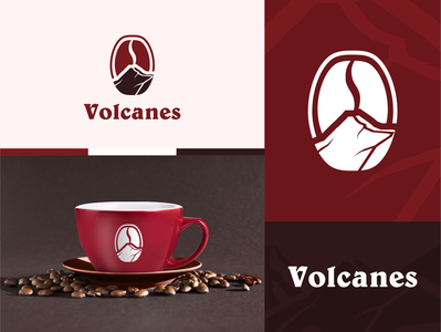 Cafe Volcanes cafe branding cafeteria coffee bean coffe coffee cup mark brand branding coffee shop minimal volcano logo cafe logo design diseño cafe coffee