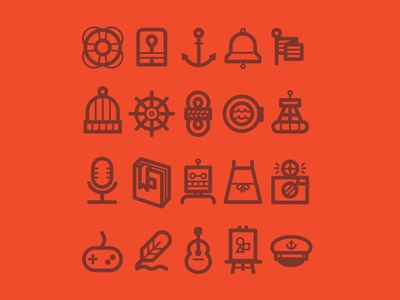 Tugboat Icons anchor flag beanie rope boat microphone book robot camera quill guitar icons